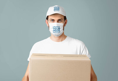 Mockup of a Delivery Man Wearing a Face Mask and a Hat 42870-r-el2