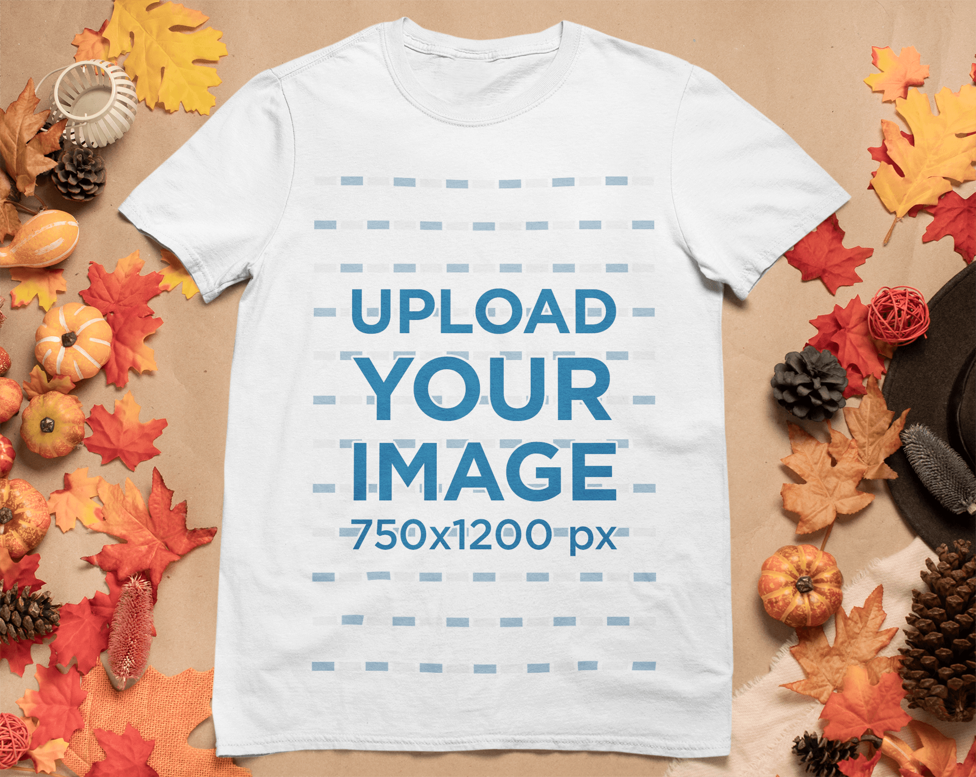 Mockup of a T-Shirt Surrounded by Autumn Ornaments 51