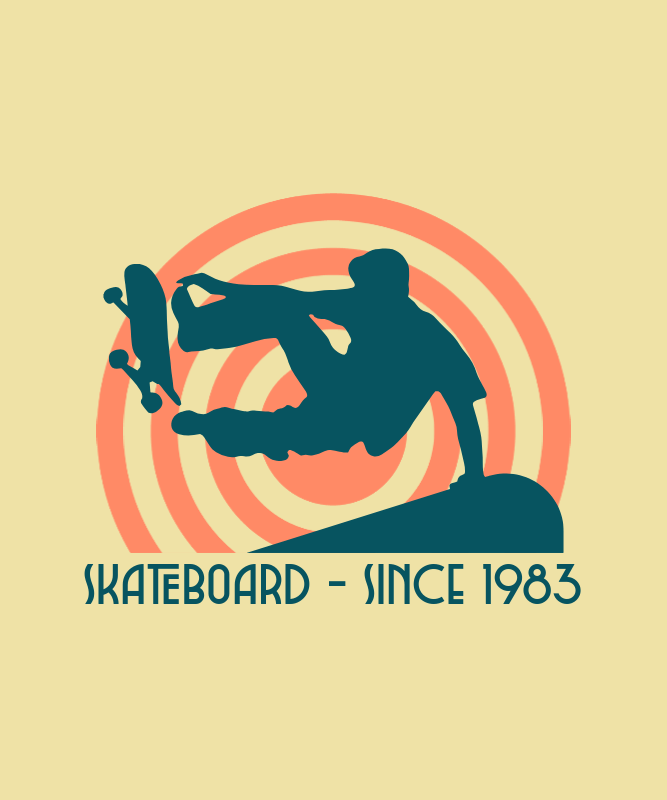 '80s Styled T-Shirt Design Generator with a Graphic of a Skater 3042i