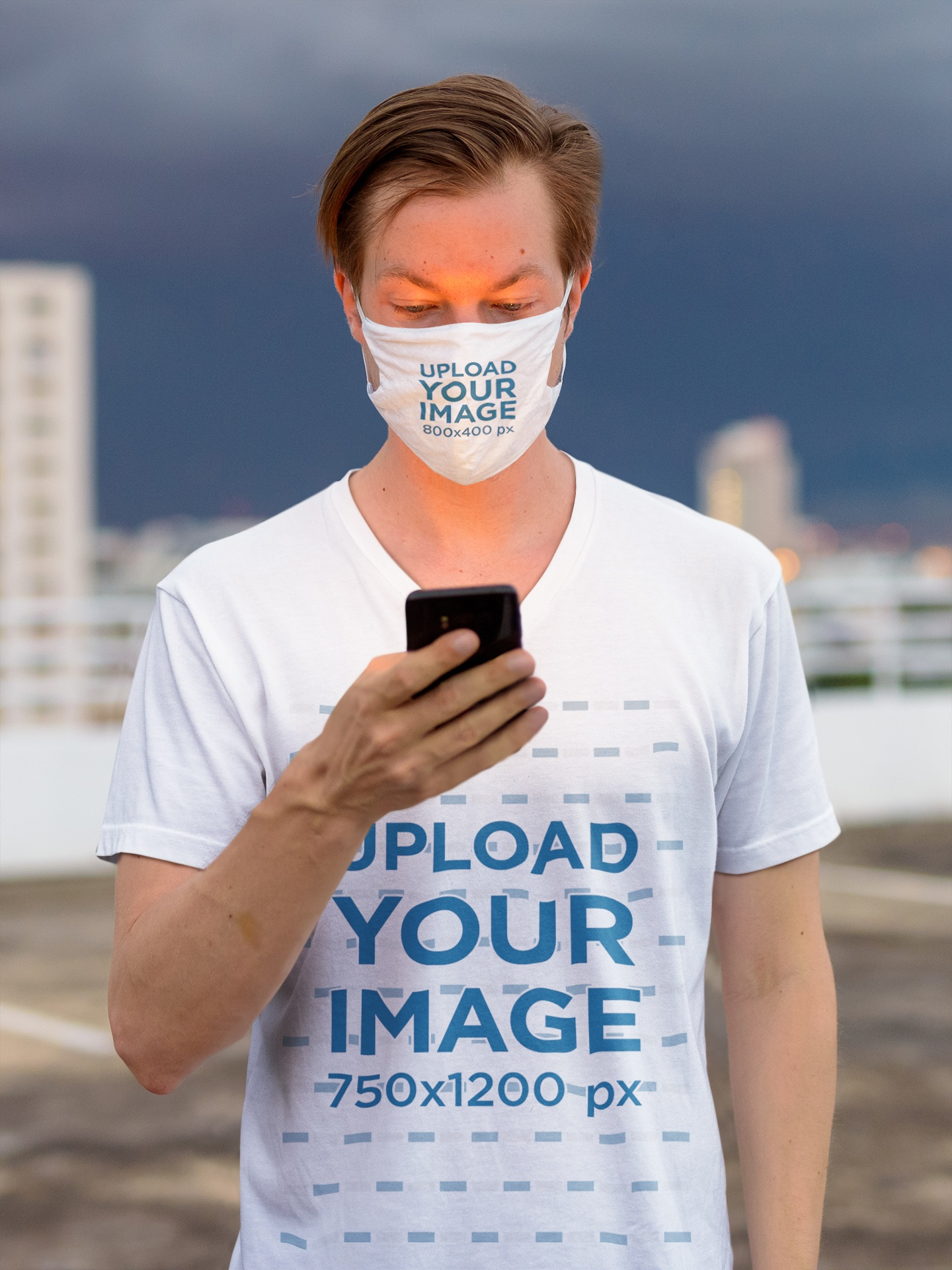 T-Shirt and Face Mask Mockup of a Man Standing on a Rooftop 44022-r-el2