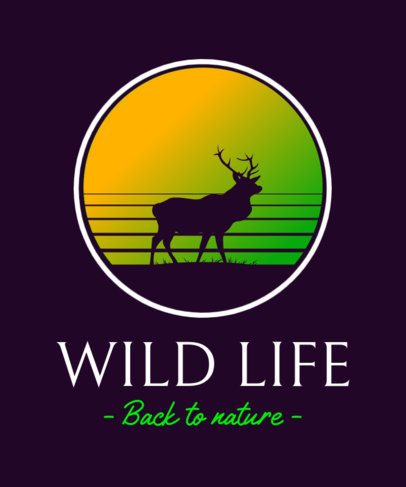 Vintage T-Shirt Design Template with a Wild Life-Themed Graphic 3043b