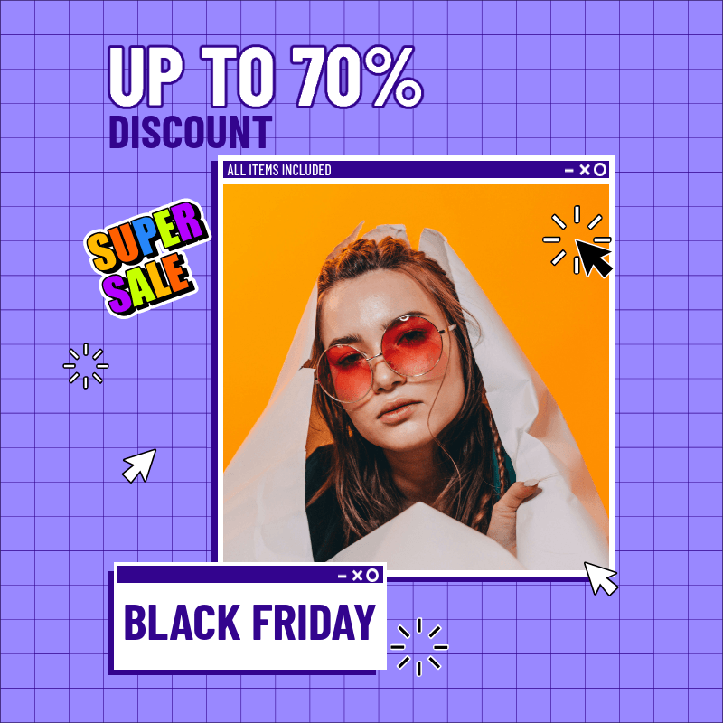 Instagram Post Template with a Grid for a Black Friday Sale 3029a