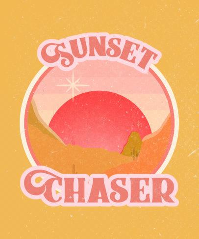 Retro Theme T-Shirt Design Maker with a Sunset Illustration 3044c