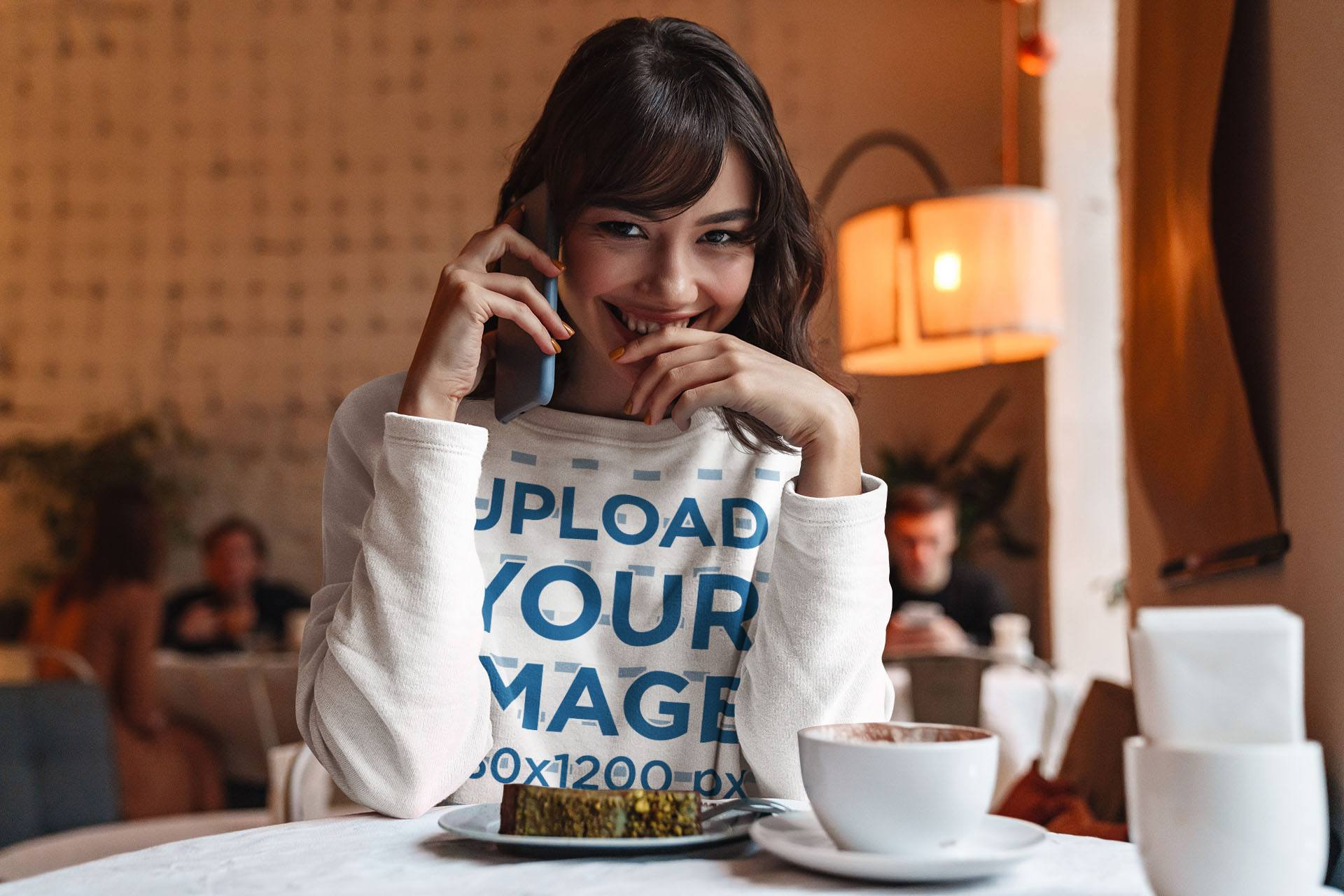 Sweatshirt Mockup of a Shy Woman Talking on the Phone 40586-r-el2