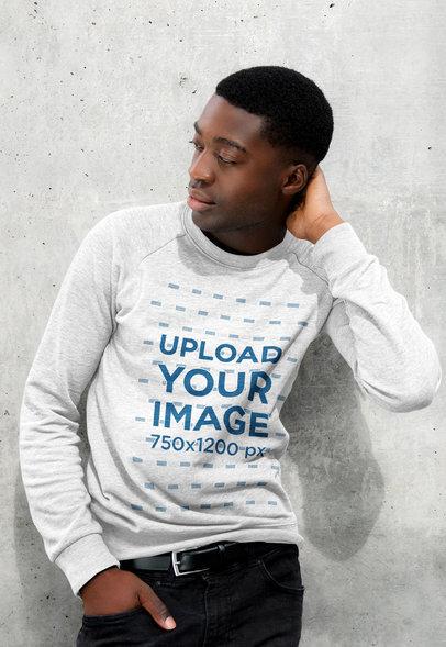 Mockup of a Young Serious-Looking Man Wearing a Heathered Sweatshirt 43849-r-el2