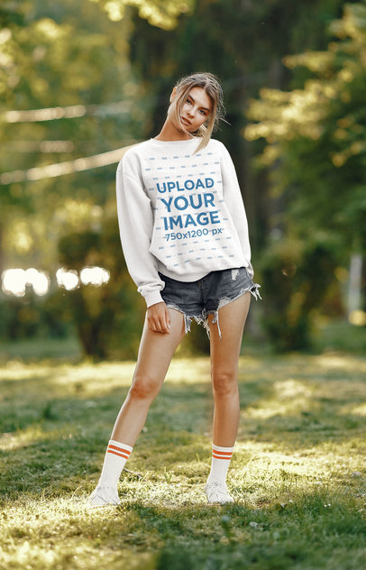 Mockup of a Serious Woman Wearing a Sweatshirt and Posing 41023-r-el2