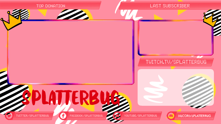 Gaming Twitch Overlay Template Featuring Crown Doodles 2989a