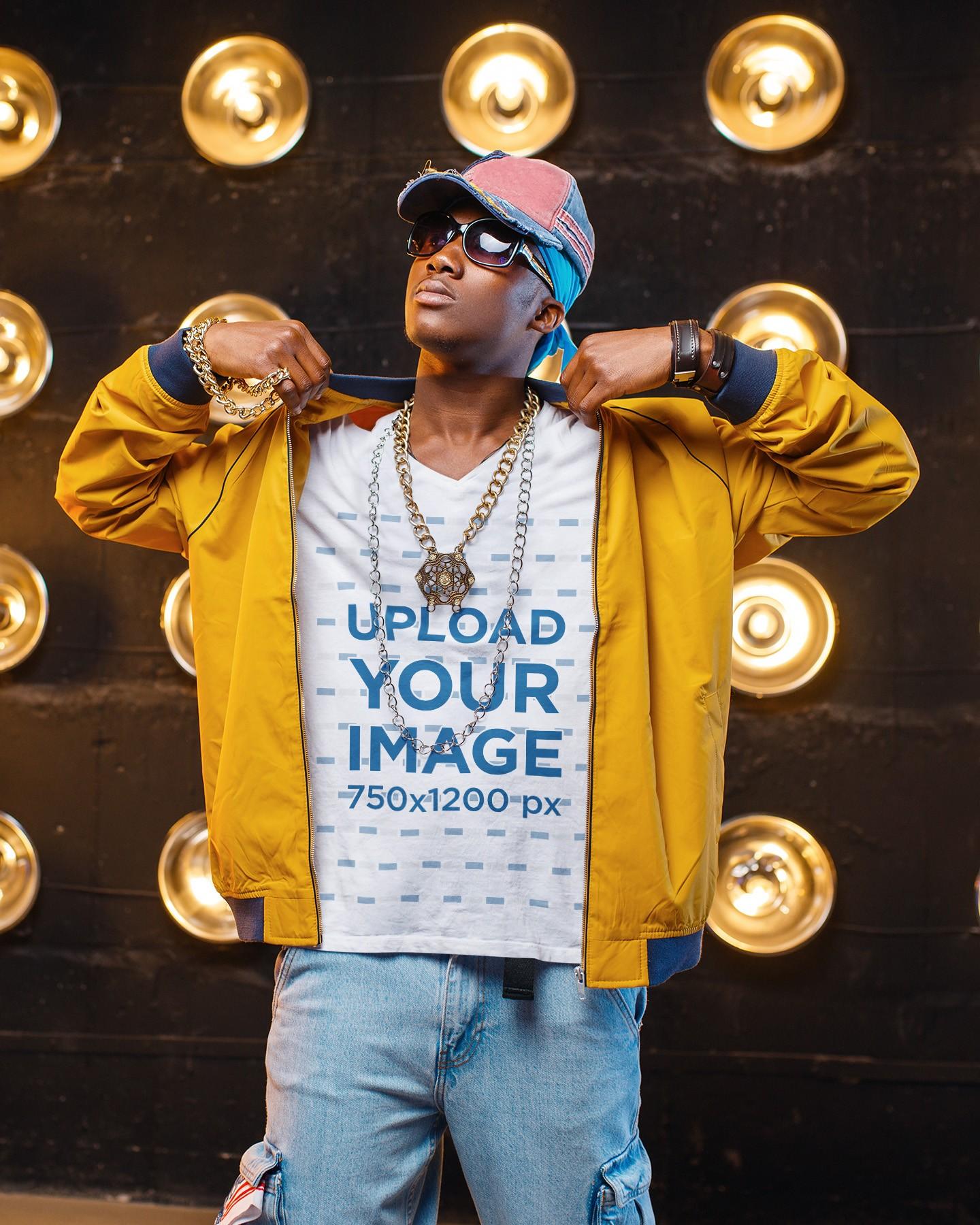 T-Shirt Mockup of a Rapper Wearing Gold Chains on a Set 40888-r-el2