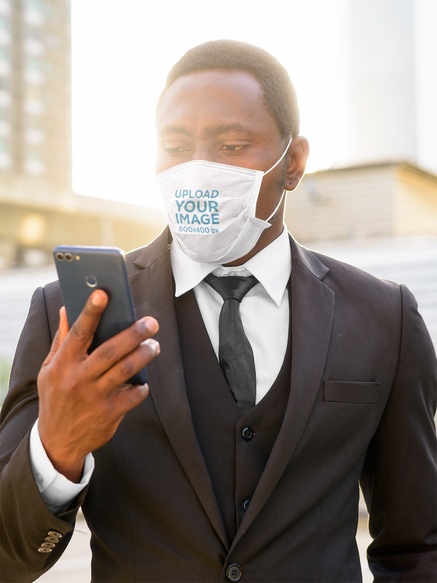 Mockup of a Businessman Wearing a Face Mask in the City 44019-r-el2