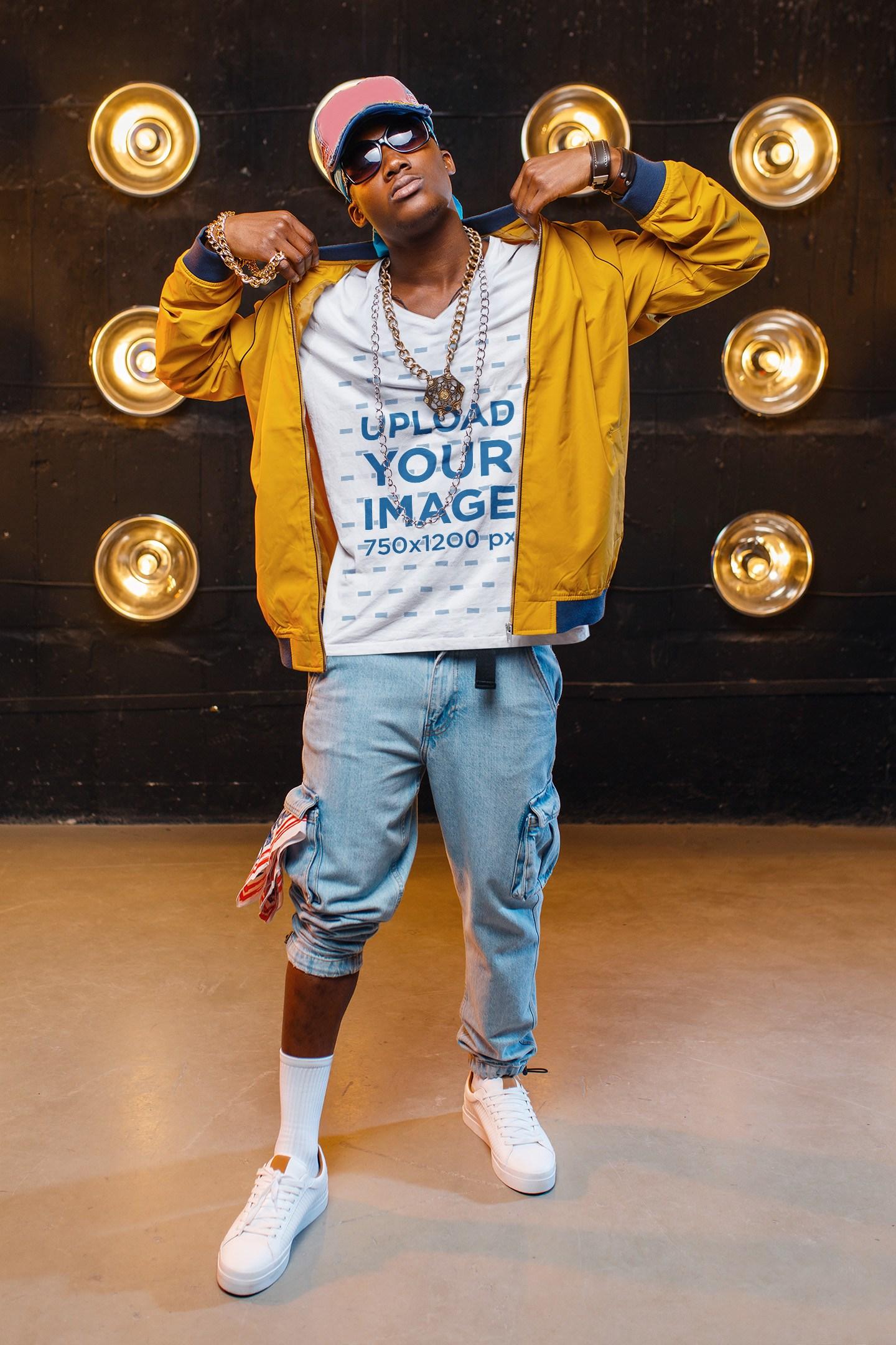 V-Neck T-Shirt Mockup of a Rapper Posing on a Set 40890-r-el2