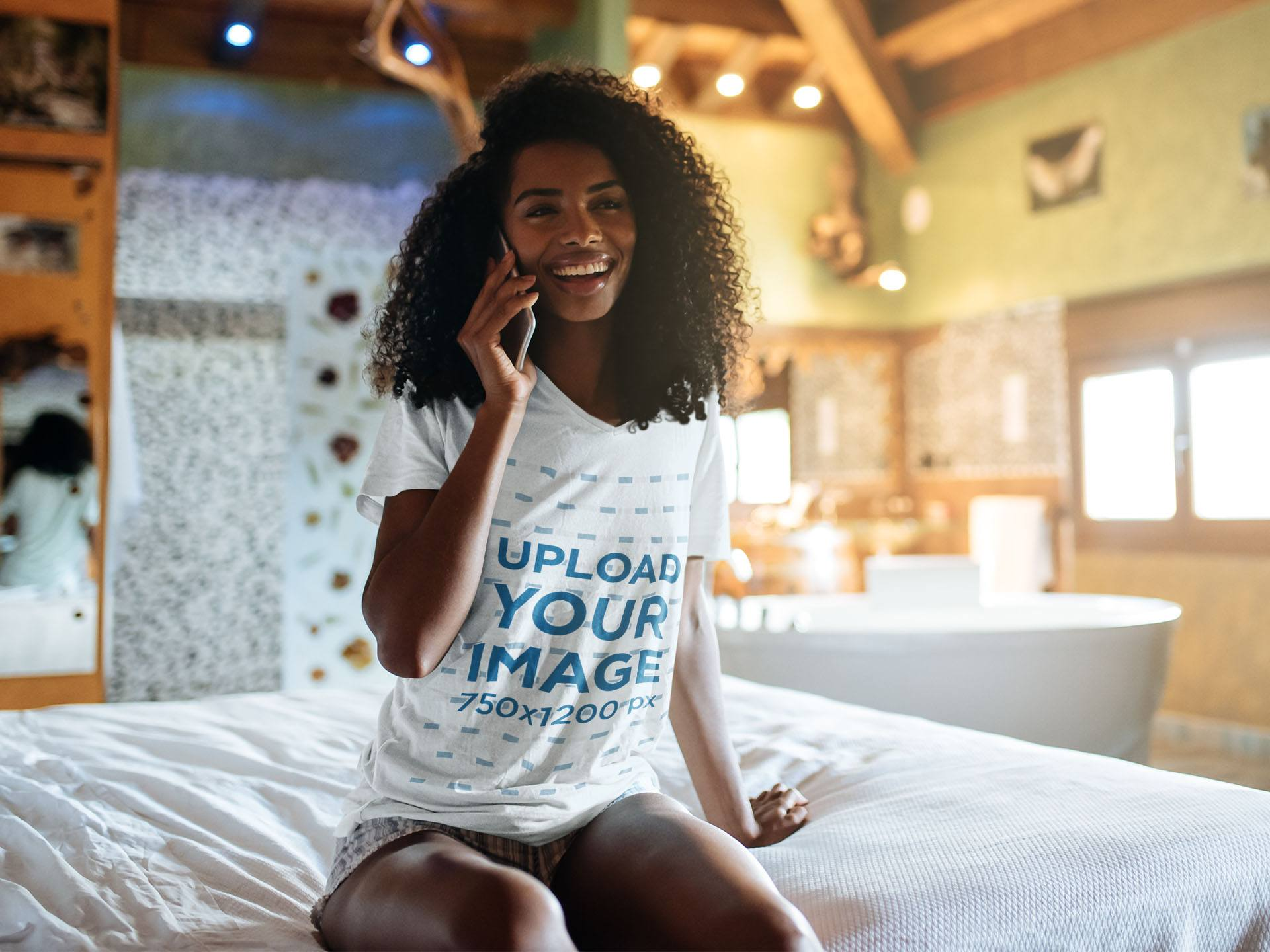 V-Neck T-Shirt Mockup of a Woman Sitting on a Bed 40119-r-el2