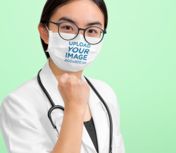 Mockup of a Young Female Doctor Wearing a Face Mask at a Studio 43943-r-el2