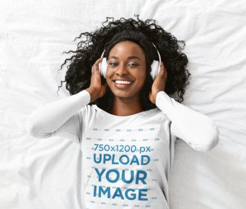 Long Sleeve Tee Mockup of a Happy Woman Listening to Music 39198-r-el2