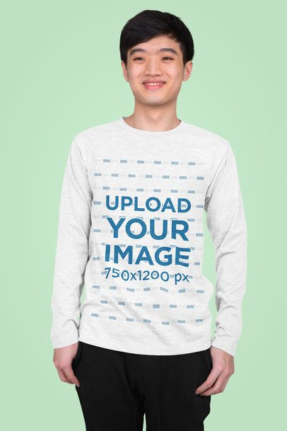 Long Sleeve Tee Mockup Featuring a Teenager in a Studio 43257-r-el2