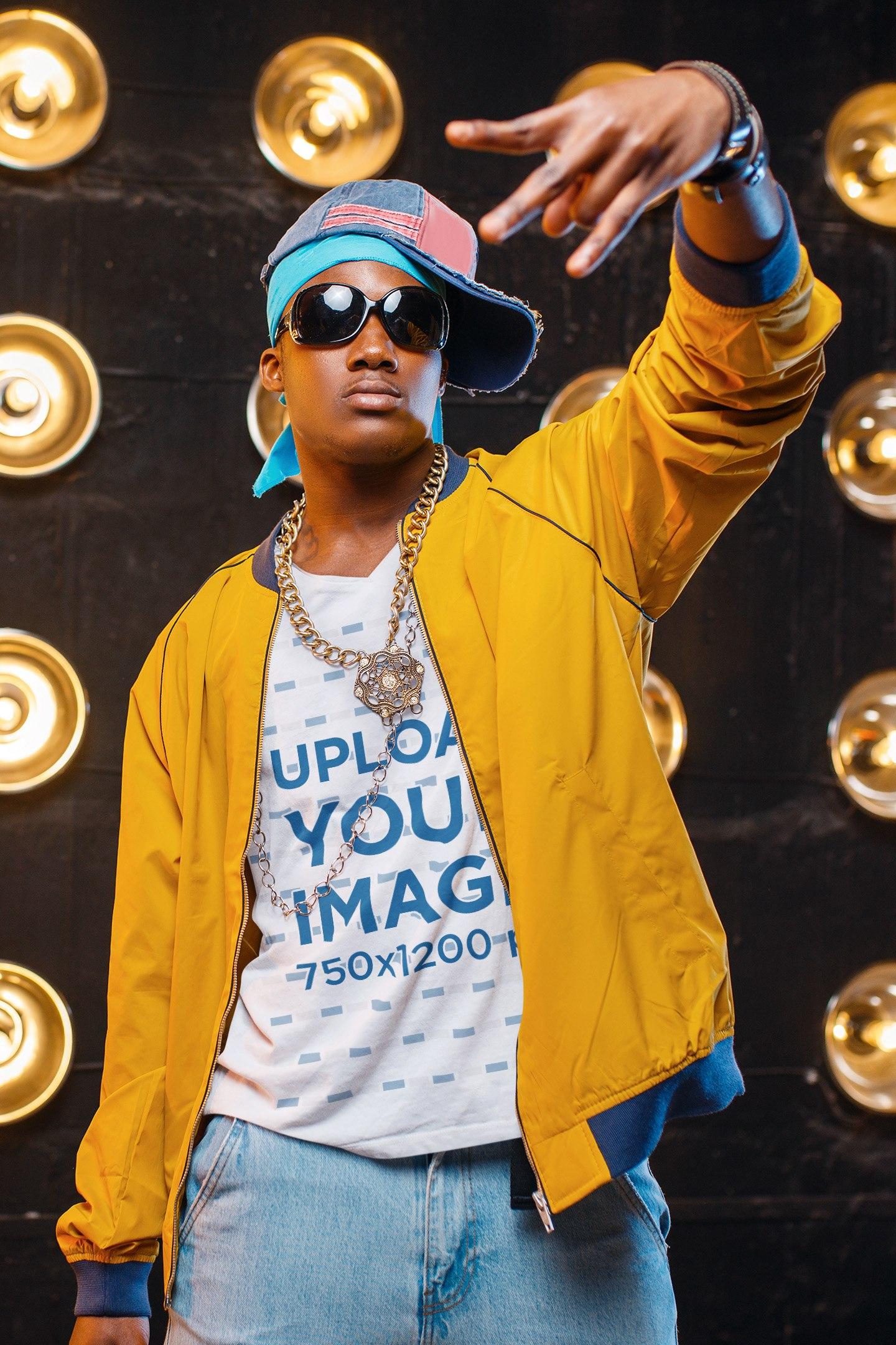 V-Neck Tee Mockup Featuring a Rapper Doing a Hand Gesture 40892-r-el2