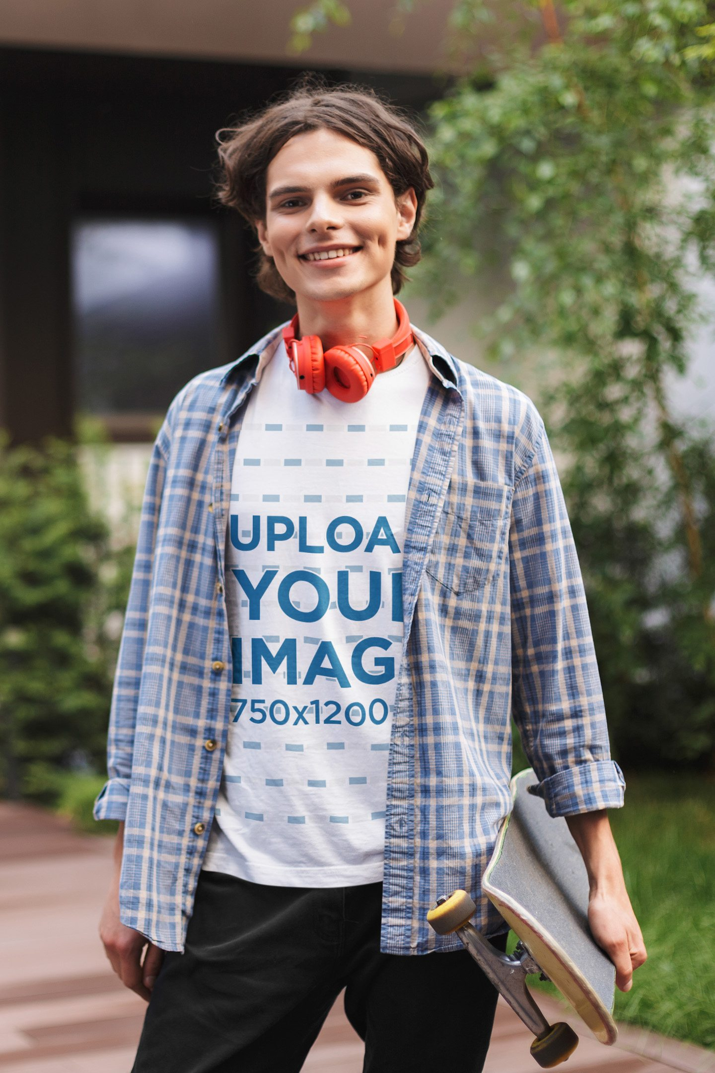 T-Shirt Mockup Featuring a Young Man Carrying a Skateboard 37880-r-el2