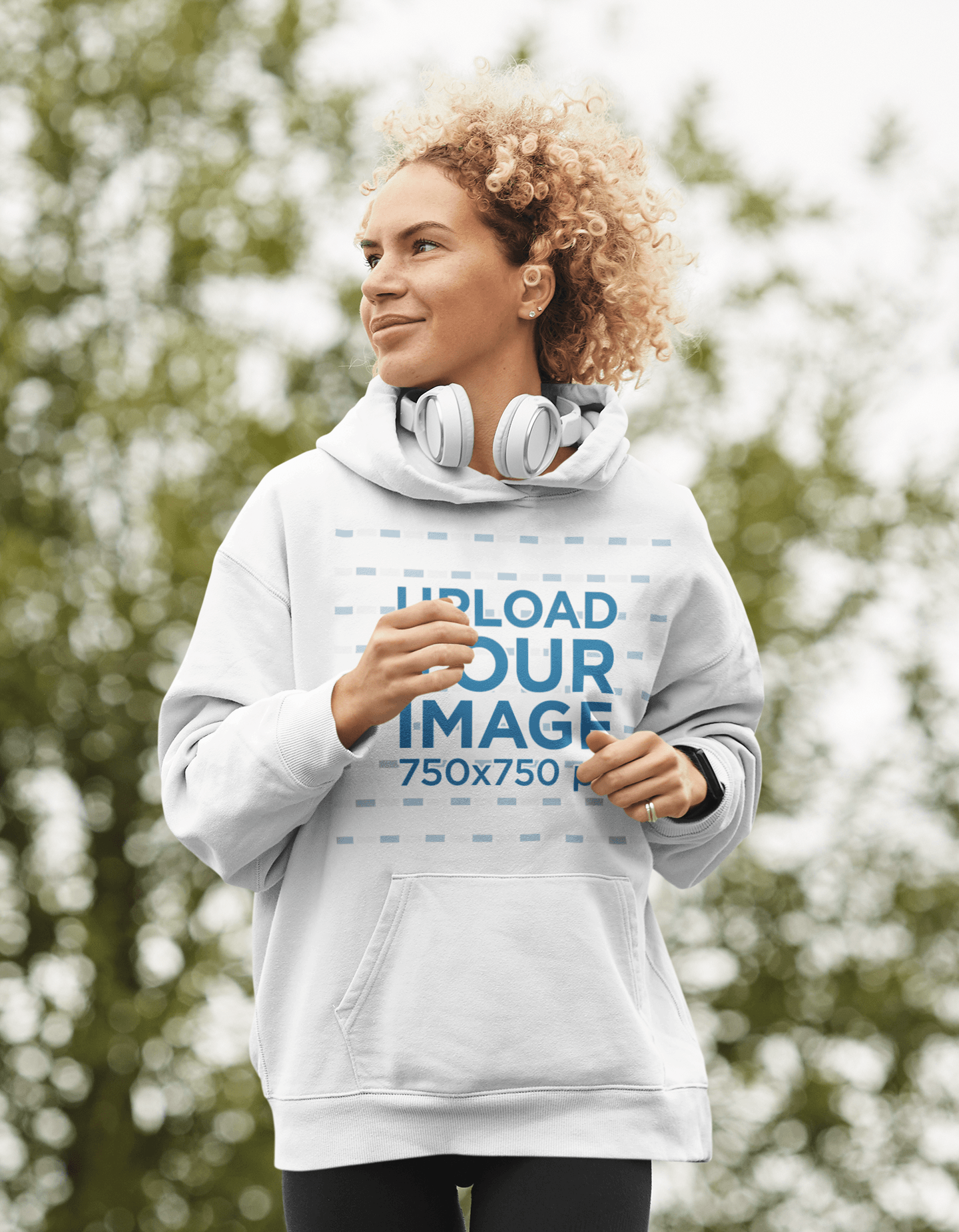 Hoodie Mockup of a Curly-Haired Woman Jogging 44296-r-el2