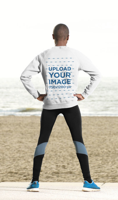 Back-View Mockup of a Man Wearing a Sweatshirt by the Beach 40202-r-el2
