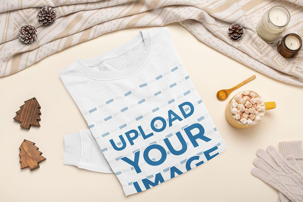 Crewneck Sweatshirt Mockup Featuring Christmas Decorations and a Hot Drink 140