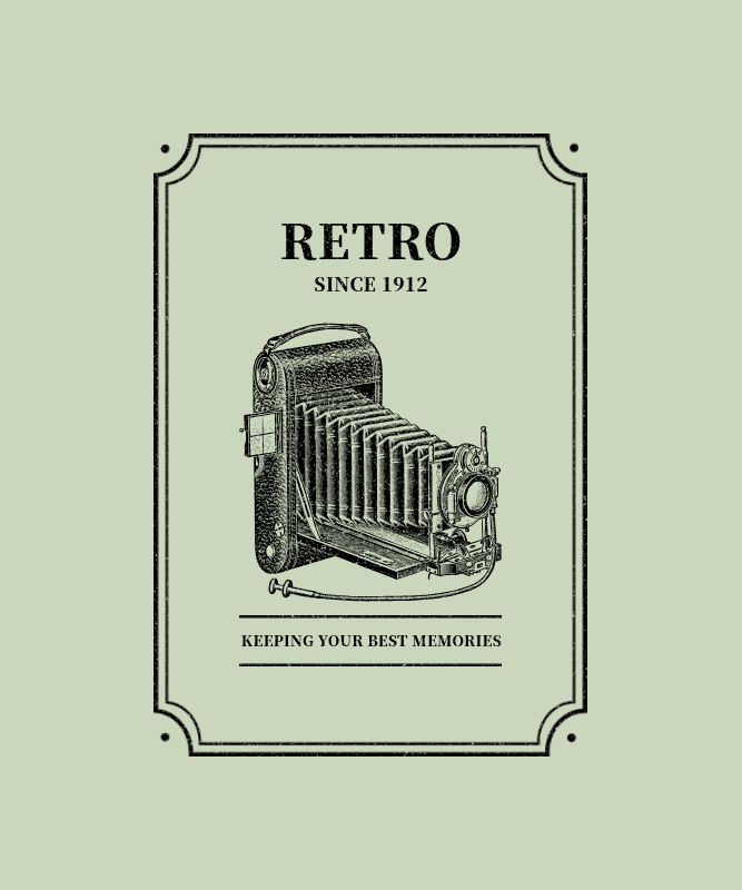 Retro T-Shirt Design Template with a Picture of a Vintage Camera 3094d-el1