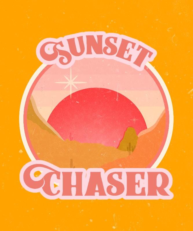 Retro-Themed T-Shirt Design Maker with a Sunset Illustration 3044c