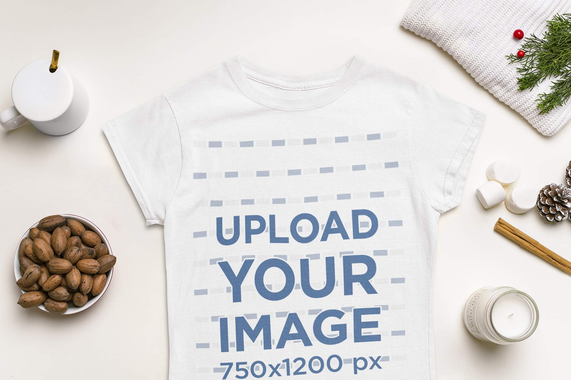 T-Shirt Mockup Featuring Typical Elements of Winter 151