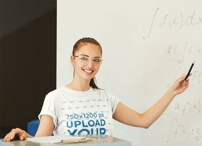 Mockup of a Math Teacher Wearing a T-Shirt 43010-r-el2