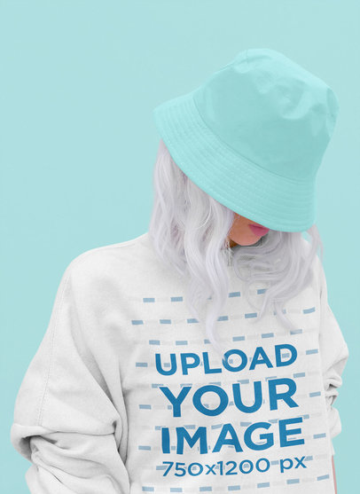Crewneck Sweatshirt Mockup Featuring a Woman Hiding Her Face at a Studio 43693-r-el2