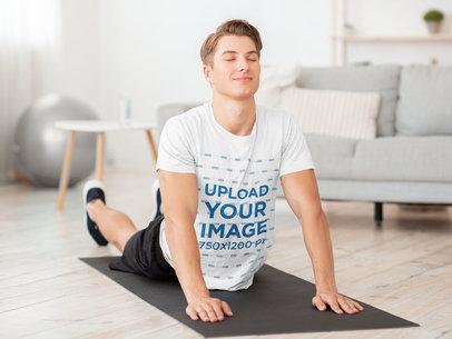 T-Shirt Mockup of a Fit Man Doing Yoga at Home 43788-r-el2