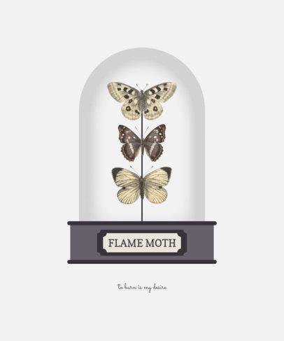 Illustrated T-Shirt Design Maker Featuring Three Beautiful Moths 3092b-el1