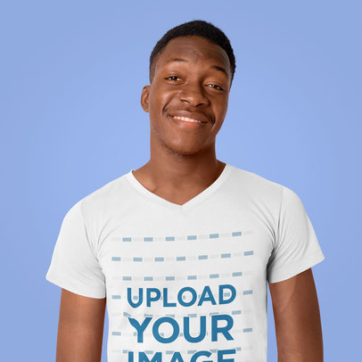V-Neck T-Shirt Mockup of a Smiling Man Standing in a Studio 40417-r-el2