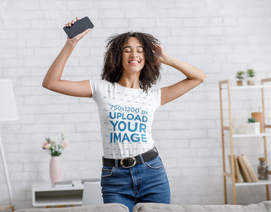 T-Shirt Mockup of a Woman Dancing at Home 43239-r-el2