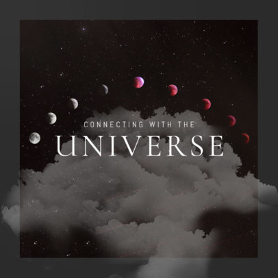 Space-Themed Cover Art Design Template for a Meditation Music Album 3061j