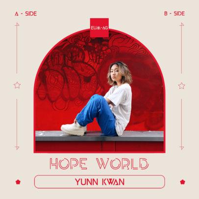 K-Pop Album Cover Design Template Featuring Cool Typographies 3074a-el1