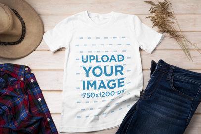 T-Shirt Mockup Featuring a Men's Outfit 43056-r-el2