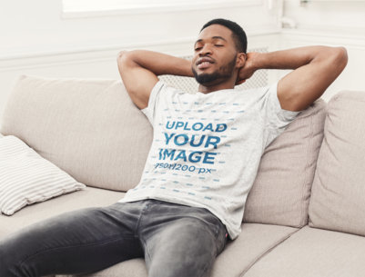 Heather T-Shirt Mockup of a Man Chilling in His Living Room 40396-r-el2