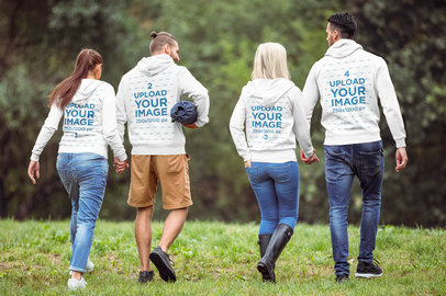 Hoodie Mockup Featuring Two Couples Going for a Walk 41581-r-el2