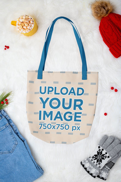 Mockup of a Tote Bag Lying in a Winter-Season Setting m168