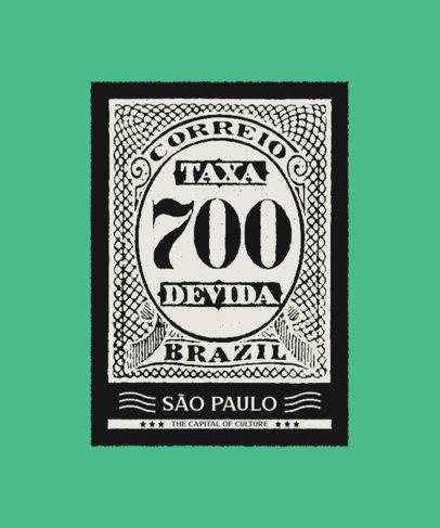 Vintage T-Shirt Design Creator with a Brazilian Postage Stamp Illustration 3090e-el1