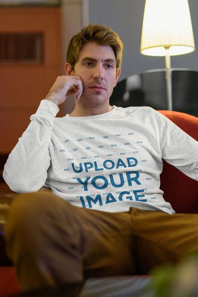 Long Sleeve Tee Mockup Featuring a Serious Man at Home 40315-r-el2