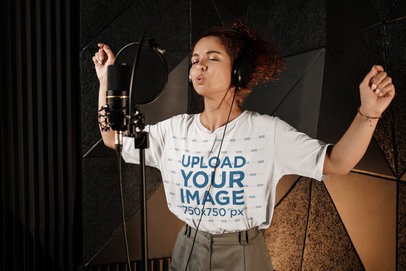 Mockup of a Female Singer Wearing an Oversize Tee During a Recording Session 39744-r-el2