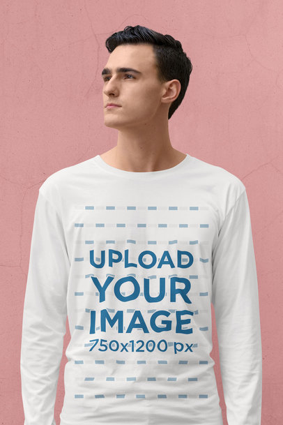 Long Sleeve Tee Mockup of a Young Man Standing in a Plain Pose 39701-r-el2