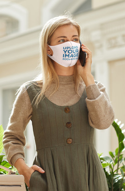 Face Mask Mockup Featuring a Long-Haired Woman on the Phone 44273-r-el2