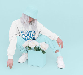 Trendy Mockup of a Platinum-Haired Woman Wearing a Sweatshirt in a Studio 43692-r-el2