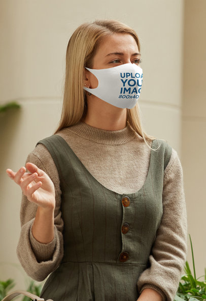 Face Mask Mockup Featuring a Woman in a Fall Outfit 44275-r-el2