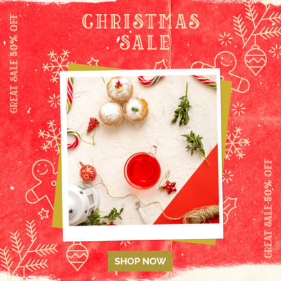Instagram Post Template for Christmas Sales Featuring Festive Graphics 3086