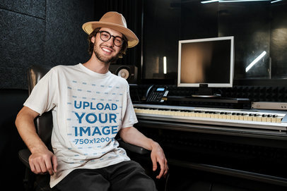 Mockup of a Music Producer Wearing a Loose T-Shirt 39766-r-el2