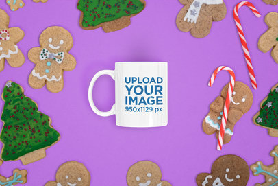 Mockup of an 11 oz Coffee Mug Surrounded by Xmas Cookies m27