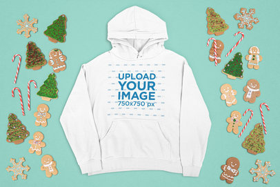 Pullover Hoodie Mockup Featuring Christmas Cookies and Candy Canes m22