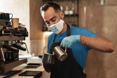 Heathered Face Mask Mockup Featuring a Barista Preparing a Hot Drink 44072-r-el2